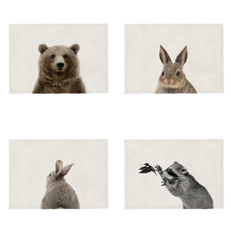 Populer Hewan Lucu Kain Taplak Meja Beruang Anjing Rakun Kelinci Sloth Tiger Msntel De Mesa Dapur Polyester Meja Makan Kain