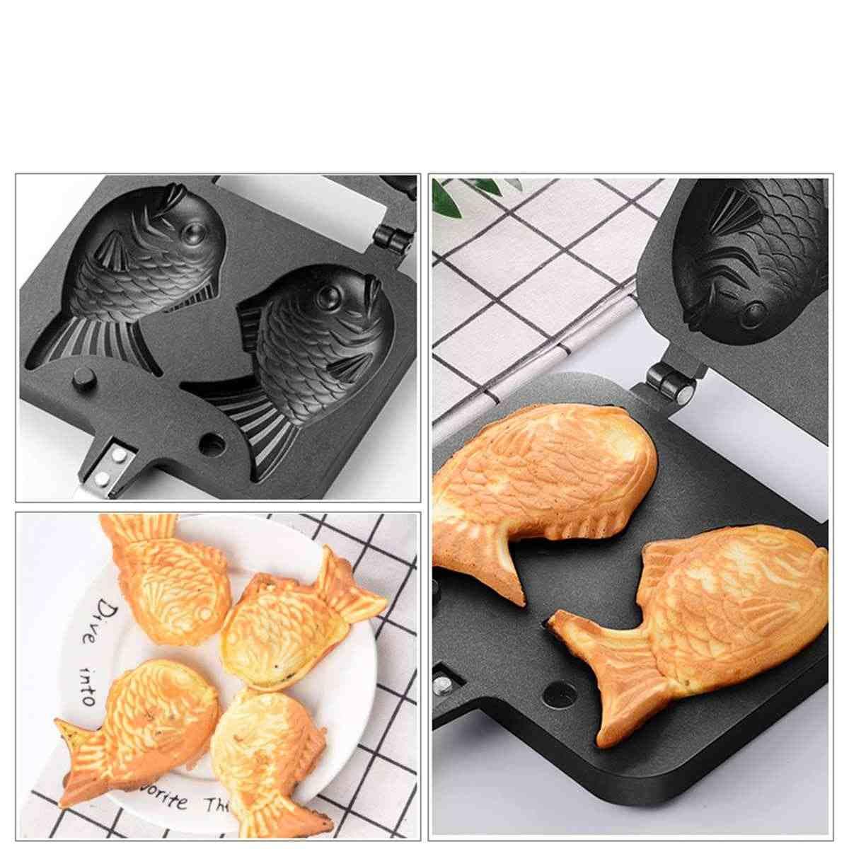 Taiyaki Giapponese a Forma di Pesce Attrezzature e Accessori da forno Waffle Pan Maker 2 Cast Casa Attrezzi Della Torta Per Bambini Amore Prima Colazione Cucina Della Famiglia barbecue Strumento