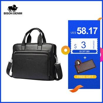 BISON DENIM Genuine leather Briefcases 14 Laptop Handbag Mens Business Crossbody Bag Messenger/Shoulder Bags for Men N2333-3