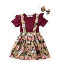 Новые летние комплекты одежды для маленьких девочек боди с короткими рукавами топ+ платье с цветочным принтом на бретелях+ Набор резинок для волос 0-24 месяцев