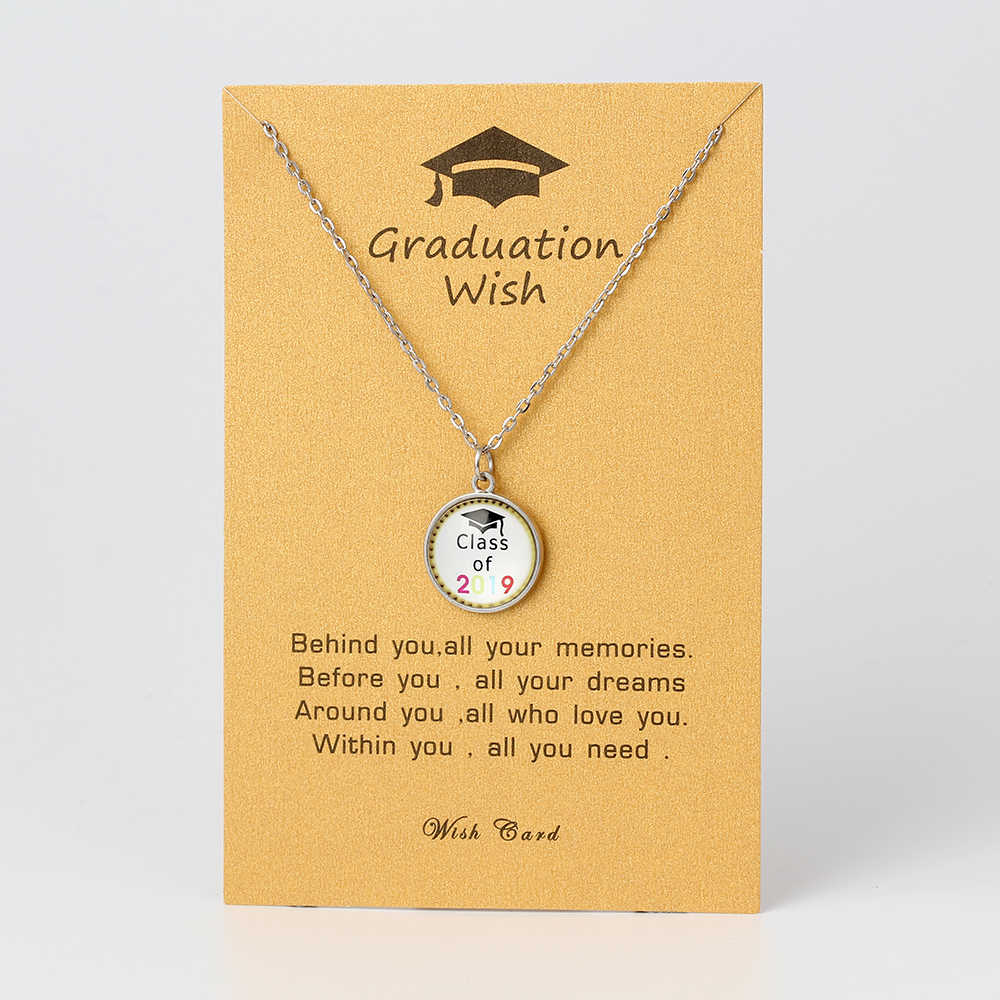 Wish Card 2019 Graduation Stainless Steel Pendant Long Necklace Class of 2019 Card Statement Women Men Necklace Dropshipping