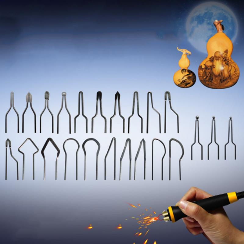 23pcs/set Heating Wire Pyrographic Tip Kit Metal Alloy High Impedance Wood Burning Tool Accessories Replacement Portable Carving