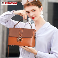Women's New Messenger Bag Blue Brown Soft Split Leather Tote Bags for Women 2019 Luxury Top Handle Flap Crossbody Bag with Metal