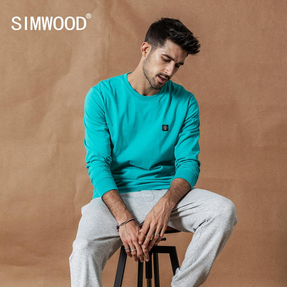 SIMWOOD 2019 Autumn New Long Sleeve T-shirt Men Casual Basic 100% Cotton Tshirt Logo Casual Top Plus Size T Shirts SI980594