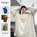 Winter Pullover Männer Warme Mode Einfarbig Casual Oansatz Stricken Pullover Mann Streetwear Lose Lange-ärmeln Pullover Männlichen Kleidung