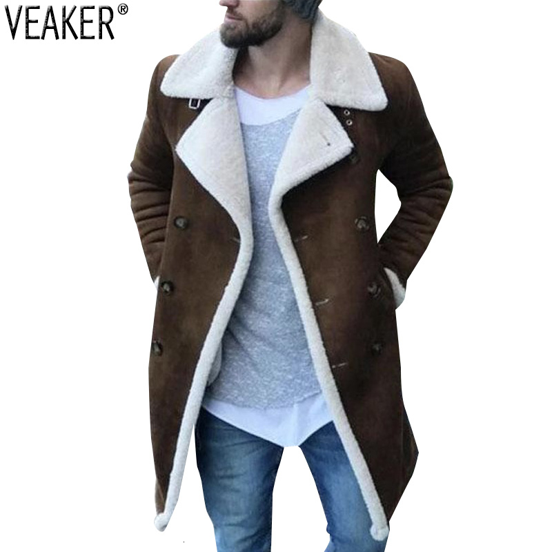 2019 New Men's Warm Suede Coat Male Winter Wool Fleece Long Overcoat Outerwear Men Brown Long Trench Jacket M-3XL