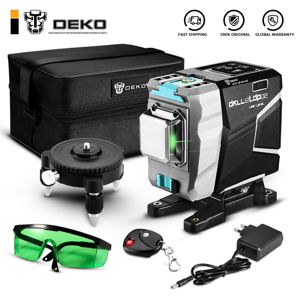 Лазерный уровень DEKO, нивелир с 12 вертикальными и горизонтальными линиями зеленого цвета, 520 нм, автоматическое самовыравнивание, высокая то...