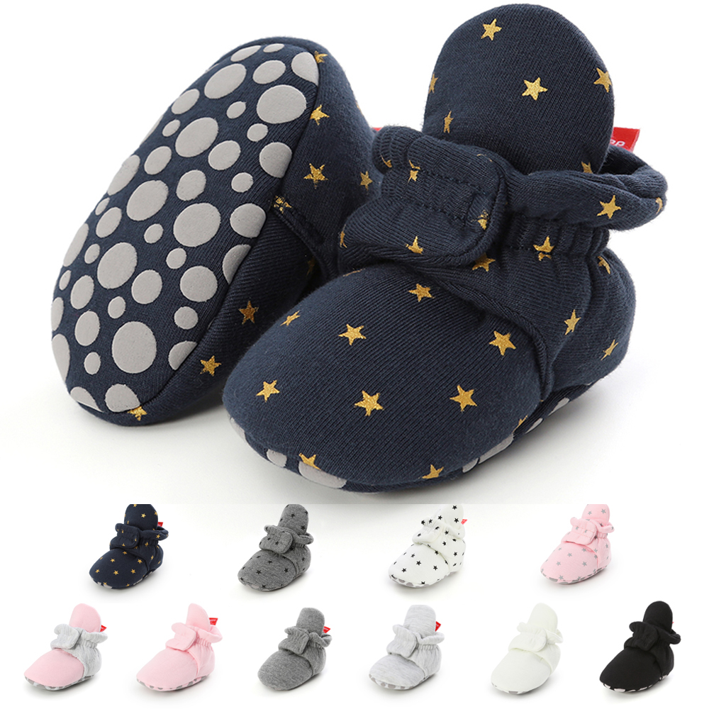 Newborn Boy Girl Baby Socks Shoes Star Toddler First Walkers Boots Cotton Winter Soft Anti-slip Warm Infant Crib Shoes