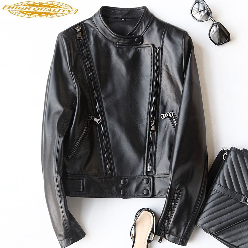 2020 Genuine Leather Jacket Spring Sheepskin Coat For Women Short Motorcycle Coats Real Leather Jackets Outwear 22294