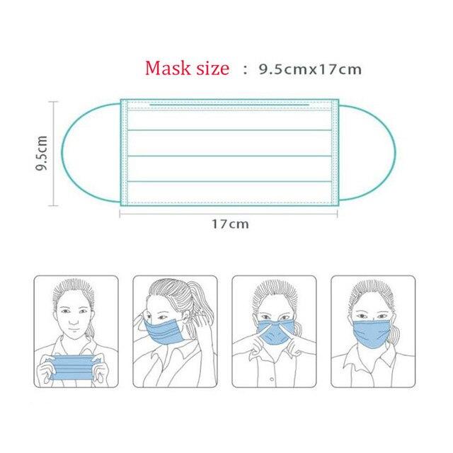 (10 Sets, 20 Sets, 50 Sets, 100 Sets) Gas Masks One-time Protection 3-layer Filter Haze Ear Dust Mask Non-woven Masks 2