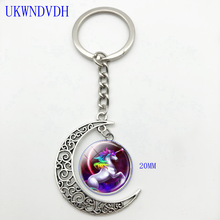 Keychain glass key, multi-colored flying unicorn keychain