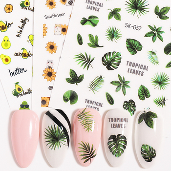 1 PC Water Nail Decal and Sticker Flower Leaf Plant Green Simple Summer Slider for  Nail Art Watermark Tips DIY Decors