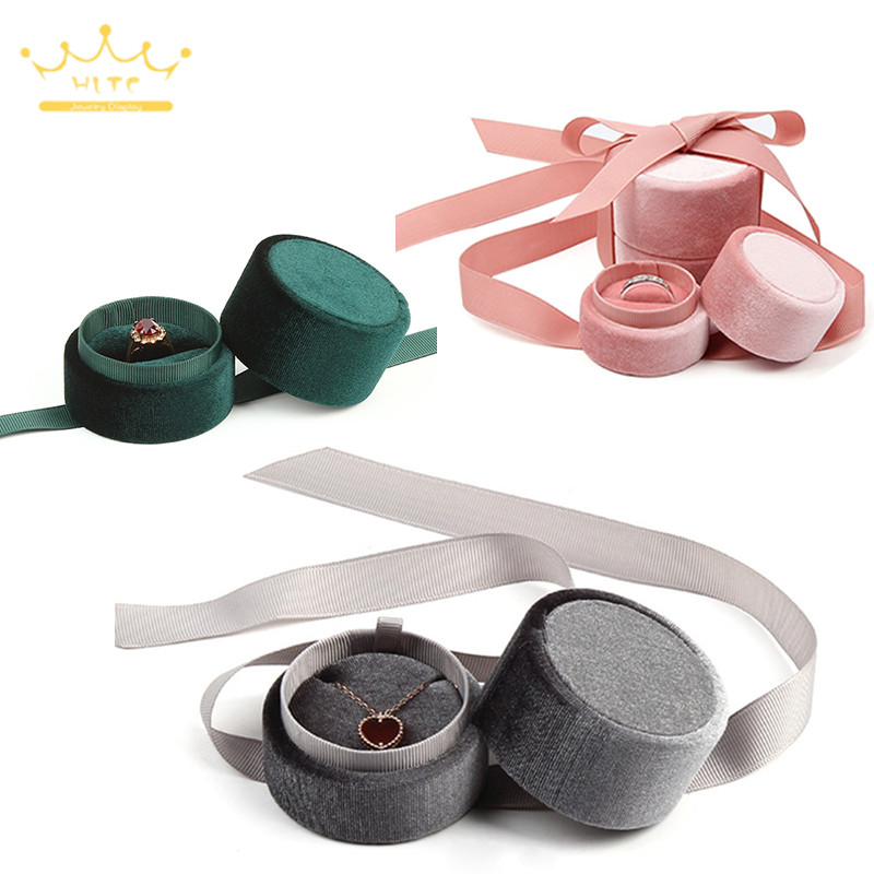 High Quality Ring Box Pendant Jewellry Store Gift Packaging Box Earring Necklace Holder Velvet Jewelry Organizer 1PC