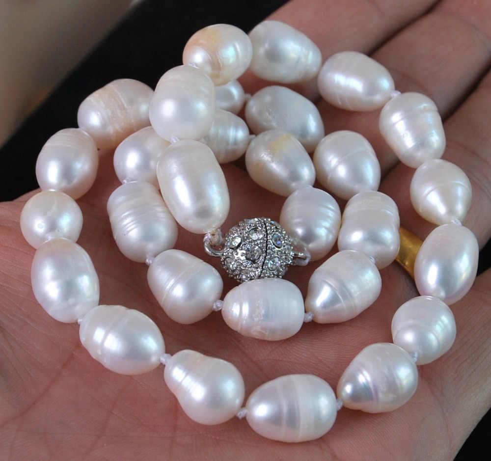 """Caliente # venta al por mayor> 11-13MM blanco Natural akoya perlas cultivadas de moda collar magnético cierre 18"""""""