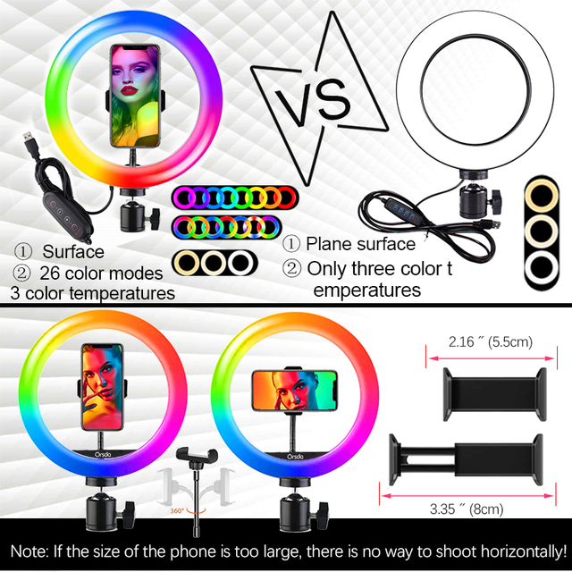 Orsda 10-13 Inch RGB Ring Light Tripod LED Ring Light Selfie Ring Light with Stand RGB 26 Colors Video Light For Youtube Tik Tok 3