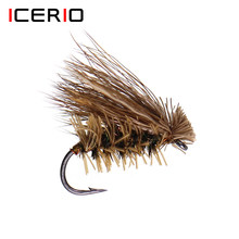 Icerio 6 pçs elk cabelo caddis stonefly seco mosca truta pesca mosca isca iscas