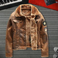 Air Force Pilot Leather Jacket Men Plus Velvet Thickened PU Leather Jacket Male Fur Coat Outwear Autumn Winter Brand Clothing