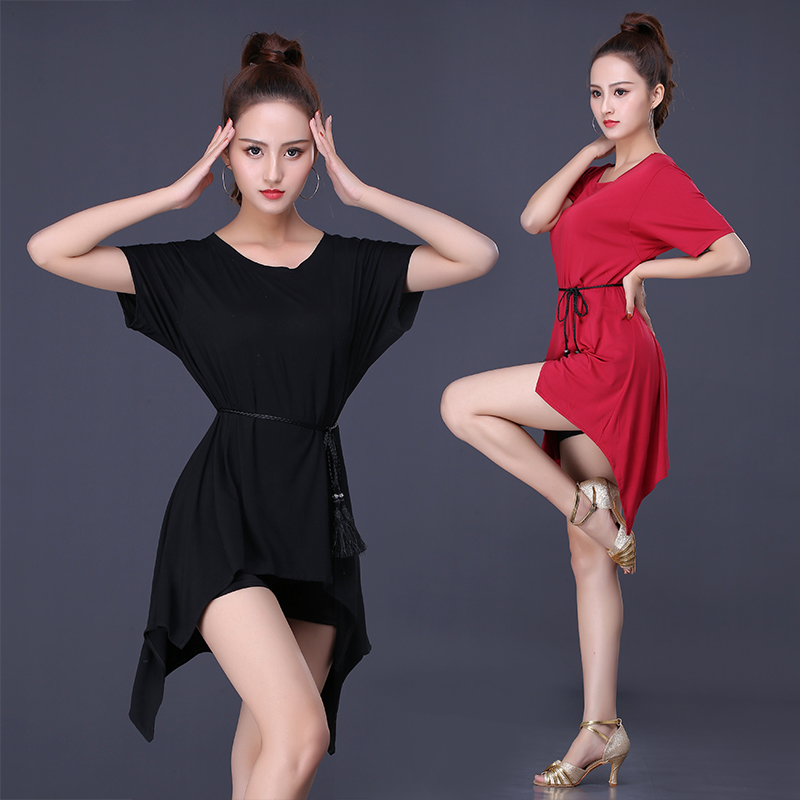 2020 Latin Dance Costume Women/Girls/Lady New Practice Clothes Dance Short Sleeve Spring And Summer Loose Dance Skirt Top