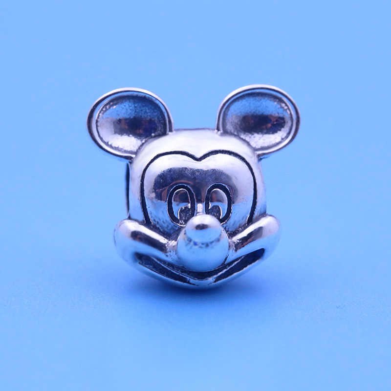 Authentic 925 prata esterlina charme bonito dos desenhos animados mouse retrato mickey contas ajuste pandora pulseira & colar jóias diy