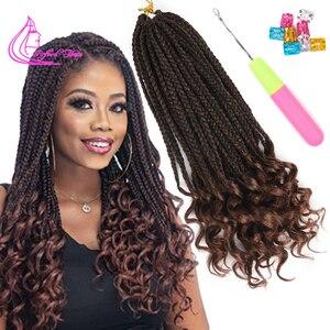 Wyrafinowane pudełko warkocze szydełkowe włosy rozszerzenia 14 18 24 cali Ombre fibre 22 korzenie/pc włosy syntetyczne do warkoczy luzem szydełkowe warkocze