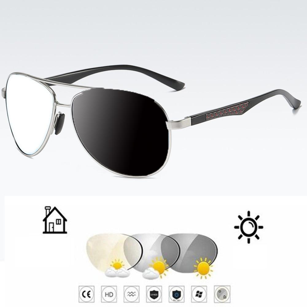 Al-mg Alloy Carbon Fiber Pilot Men Photochromic Grey Reading Glasses +0.75 +1 +1.25 +1.5 +1.75 +2 +2.25 +2.5 +2.75 To +4