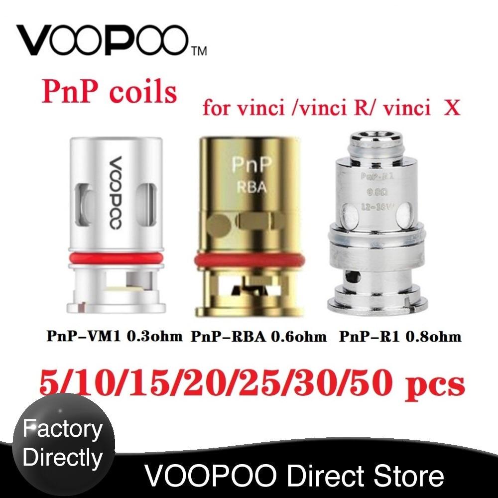 Original 5-50pcs !New VOOPOO PnP Coils 0.3ohm /0.8 Ohm Mesh Coil /0.6ohm RBA Coil For VOOPOO VINCI R/ Vinci X /VINCI Mod Pod Kit
