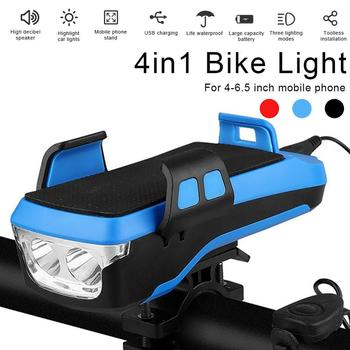 4 Modes Bicycle Light Cycling Phone Holder Bike Headlight Mobile Phone Bracket USB Rechargeable Bicycle Holder Front Lamp