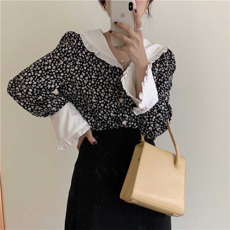 Alien Kitty Romance Print-Floral 2020 Ruffles Vintage Plus Feminine Elegant Chic Loose Casual Fashion Sweet All-Match Shirts