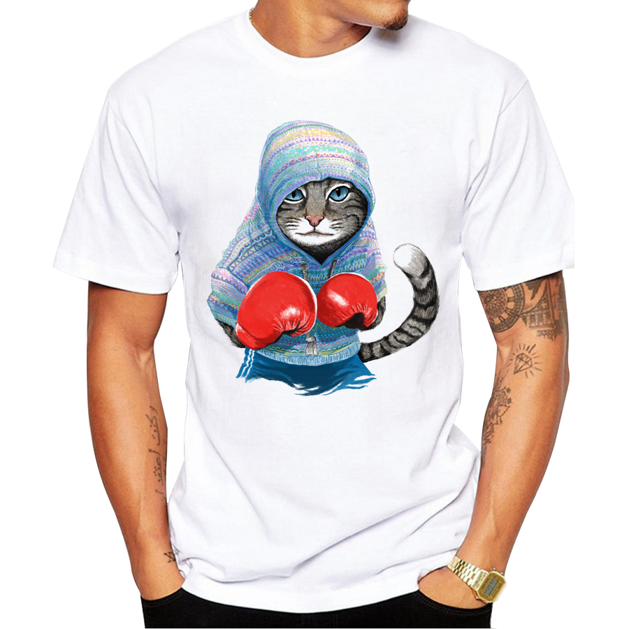 New Arrivals 2018 Fashion Men T Shirt Cat Printed T-shirt Short Sleeve Casual Tops Summer Tee