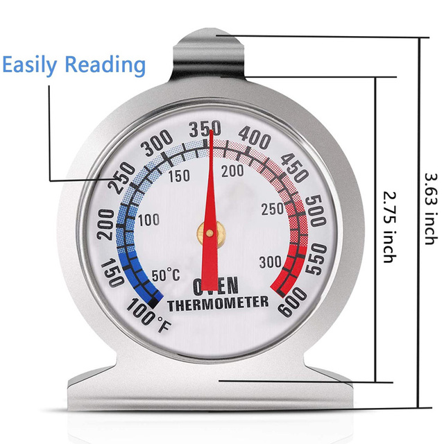 Stainless Steel Oven Thermometer 50-300°C/100-600°F Kitchen Food Meat Dial Thermometer Grill Temperature Gauge For BBQ Baking 5