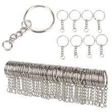 100 pçs/set aço inoxidável chaveiros y liga círculo diy 25mm chaveiros jóias chaveiro fazendo jóias acessórios