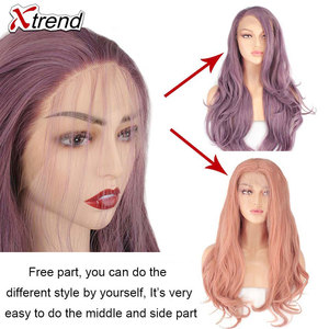 Image 5 - Xtrend Synthetic Lace Front Wig Womens Wigs For Black Women With Body Hair blonde Pink Ginger 60 Black Grey Purple Copper Red