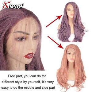 Image 5 - Xtrend sentetik dantel ön peruk kadın peruk siyah kadınlar için vücut saç sarışın pembe zencefil 60 siyah gri mor bakır kırmızı