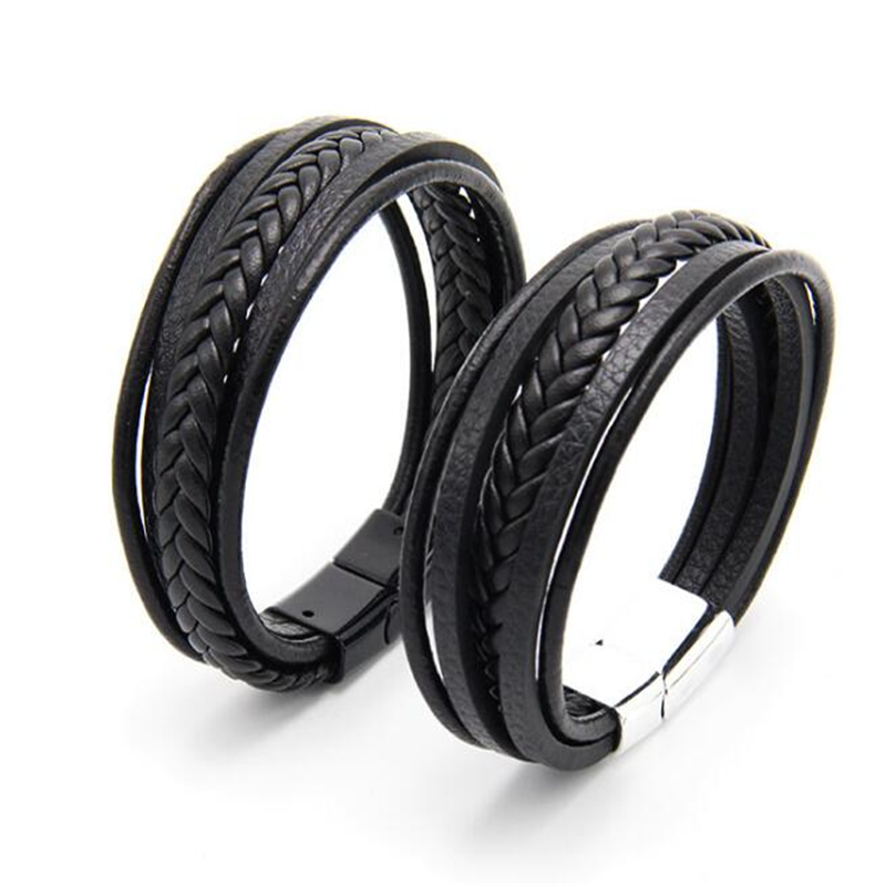 Мужской плетеный браслет из натуральной кожи ZOSHI, многослойный браслет ручной работы из нержавеющей стали