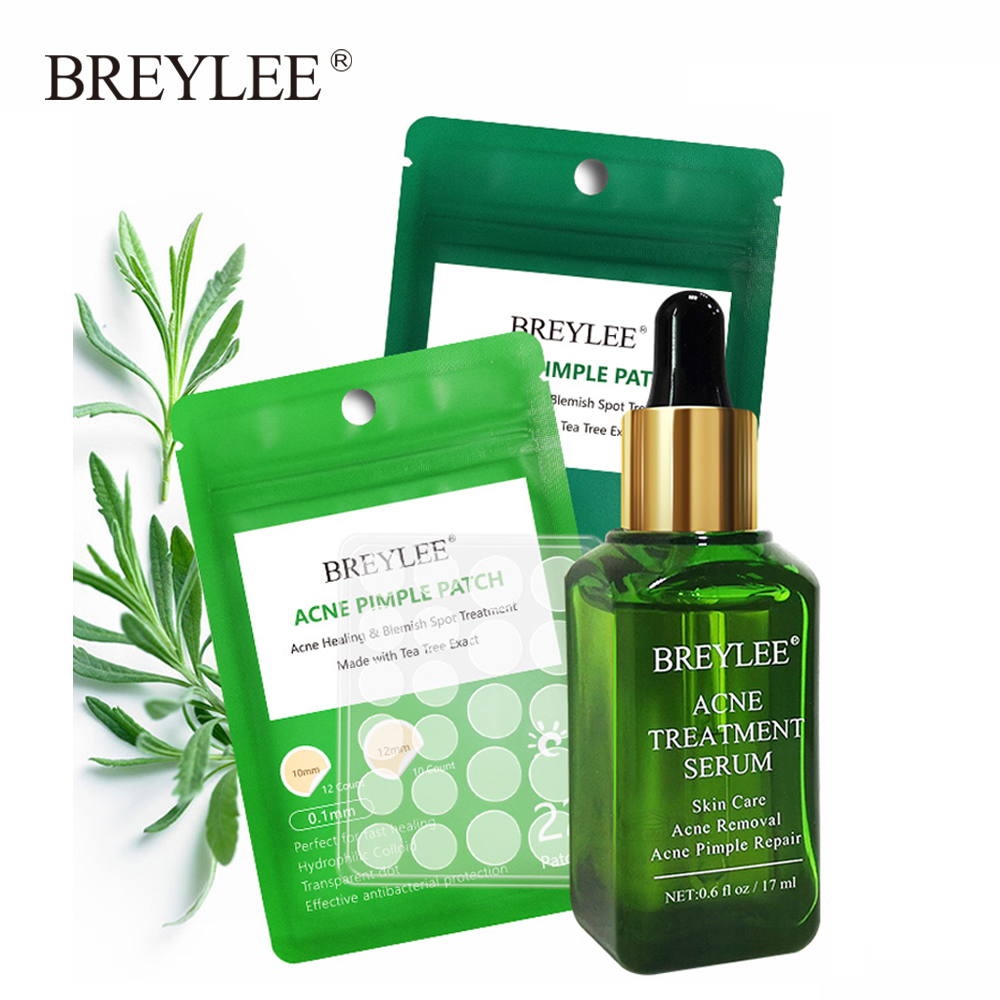 BREYLEE Acne Treatment Serum + Acne Removal Pimple Patch Stickers Day Night Repair Acne Plant Extract Essence Facial Skin Care