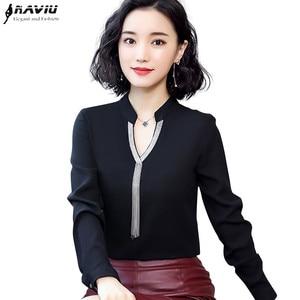 Image 1 - 2019 printemps nouvelle chemise en mousseline de soie femmes mode col en V à manches longues mince tempérament blouses bureau dames travail hauts