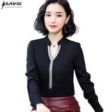 2019 wiosna nowa szyfonowa koszula kobiety moda V neck z długim rękawem slim temperament bluzki biurowa, damska bluzki do pracy