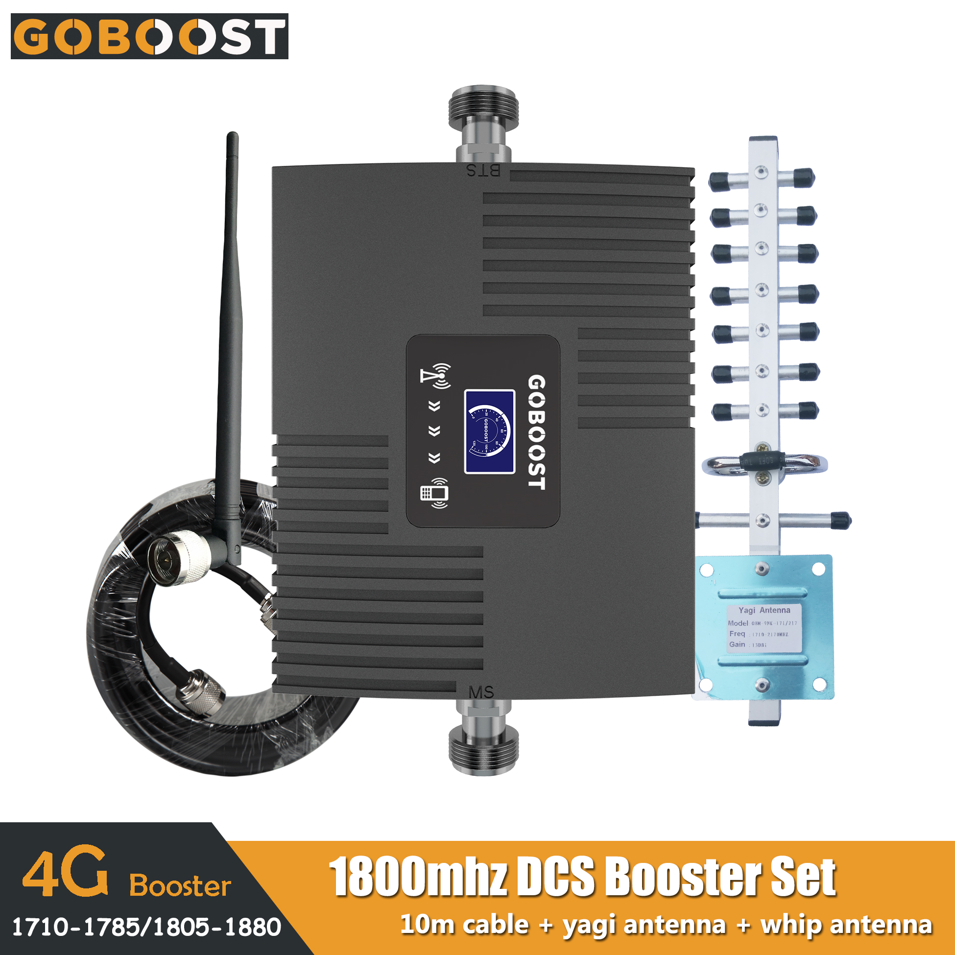 GOBOOST 4G Signal Booster LCD Display Cell Phone Signal Amplifier Kit LTE DCS 1800 MHz Band3 Mini Moblie Repeater Set 65dB Gain