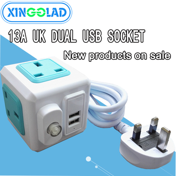 Multi Powercube Power Strip Universal 2 USB 4 Outlets Extender Electric 2M Cord Socket Network Filter of Home Office UK Plug 10A image