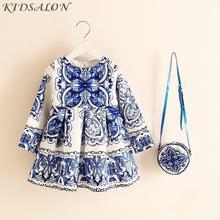 Long Sleeve Dress Girl Christmas Dress 2019 Autumn Winter Floral Print Toddler Girl Dresses Kids Clothes Children Dress with Bag