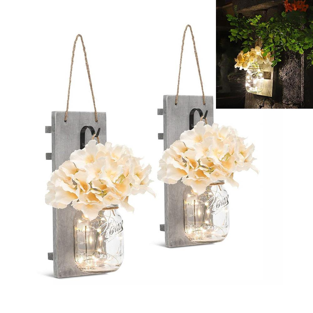 Rustic Mason Jar Sconces Wall Lights Flower Lights with Wood Boards 20 LED Lamp Beads, Black Hooks, for Home Garden Decoration