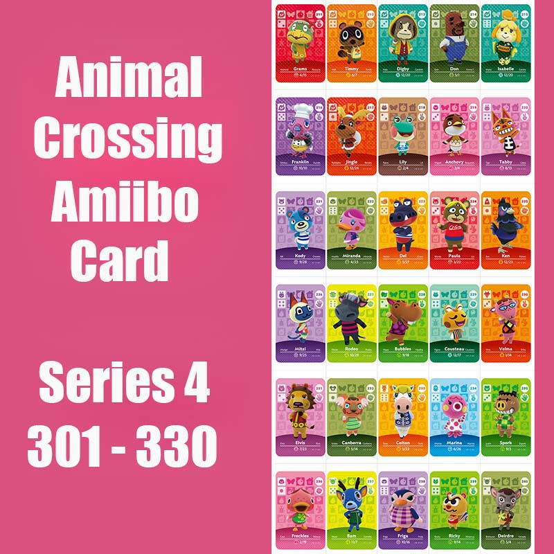 Series 4 (301 To 330) Animal Crossing Card Amiibo Card Work For NS 3DS Switch Game Animal Crossing Amiibo Card Original Function