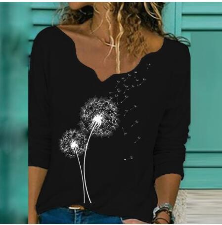 Elegant V Neck Long Sleeve Autumn Blouse Woman Dandelion Letters Print Casual Shirts Fashion Streetwear Women Tops Pullover