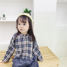 Girls shirts new autumn kids in 2019 Plaid shirt girls long sleeve Korean checker blouse casual and lovely