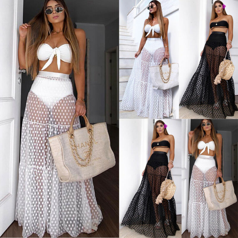 Fashion Sexy Transparent Mesh Gauze Beach Dress Women Bikini 2020 Cover Up Skirt Dress Chiffon Sarong Swimwear Beach Wrap Skirt