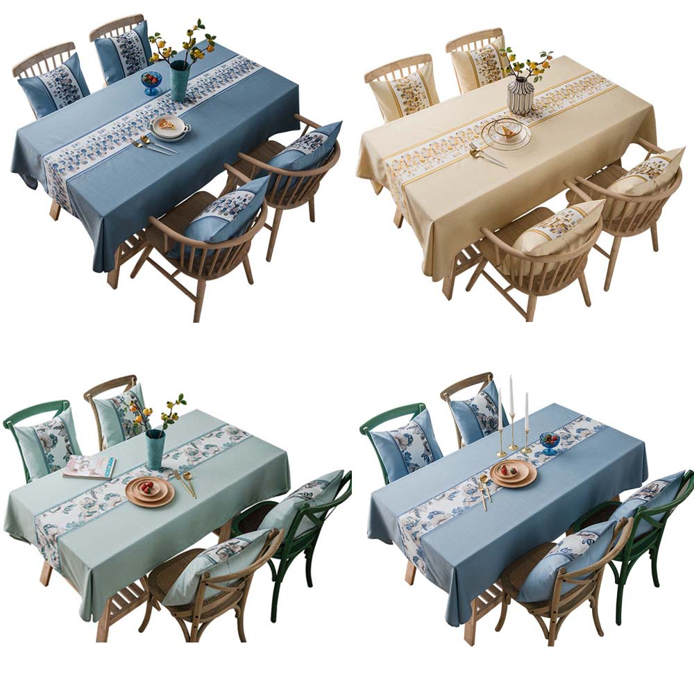 Waterproof Jacquard Tablecloth Cover Wedding Mariage Pure Plain Stone flower Linen Table Cloth