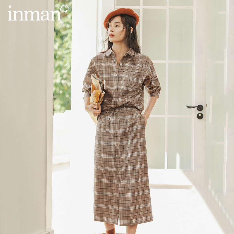 INMAN Winter Literary Retro Check Single-breasted All Match A-line Skirt