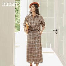 INMAN Winter Literary Retro Check Single breasted All Match A line skirt
