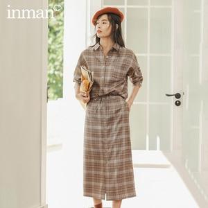 Image 1 - INMAN зимняя однотонная однобортная трапециевидная юбка в стиле ретро