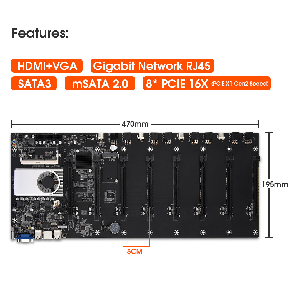 Onboard 1037U CPU HM77 Chipset VGA HDMI 8-GPU Bitcoin motherboards for miner PCI-E 16X Cryptocurrency Mining BTC Motherboard 1